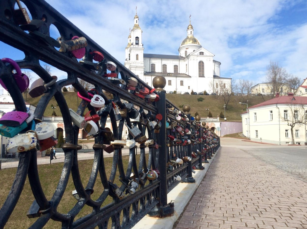 Patriarshiy bridge with padlocks
