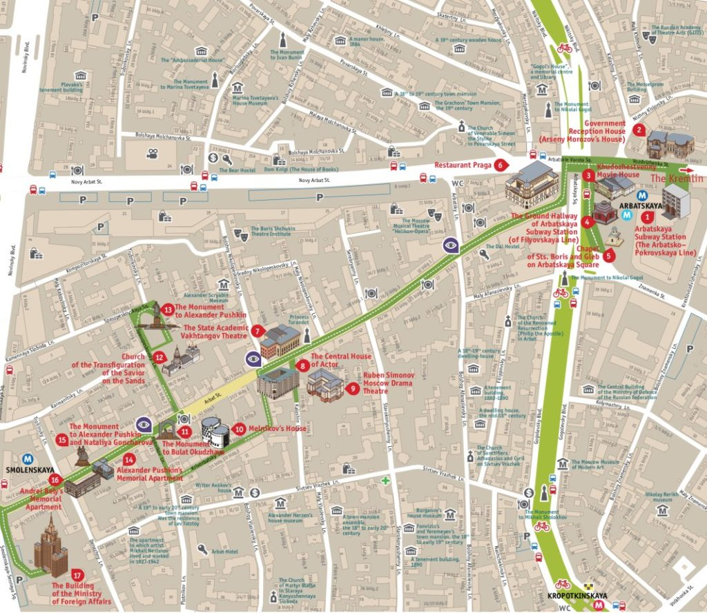 Arbat tourist route map
