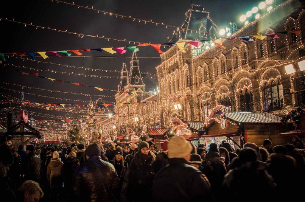 Mercatino di Natale nella Piazza Rossa di Mosca