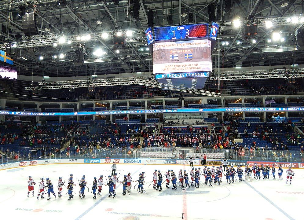 Ice hockey game in Moscow de hockey hielo en Moscú