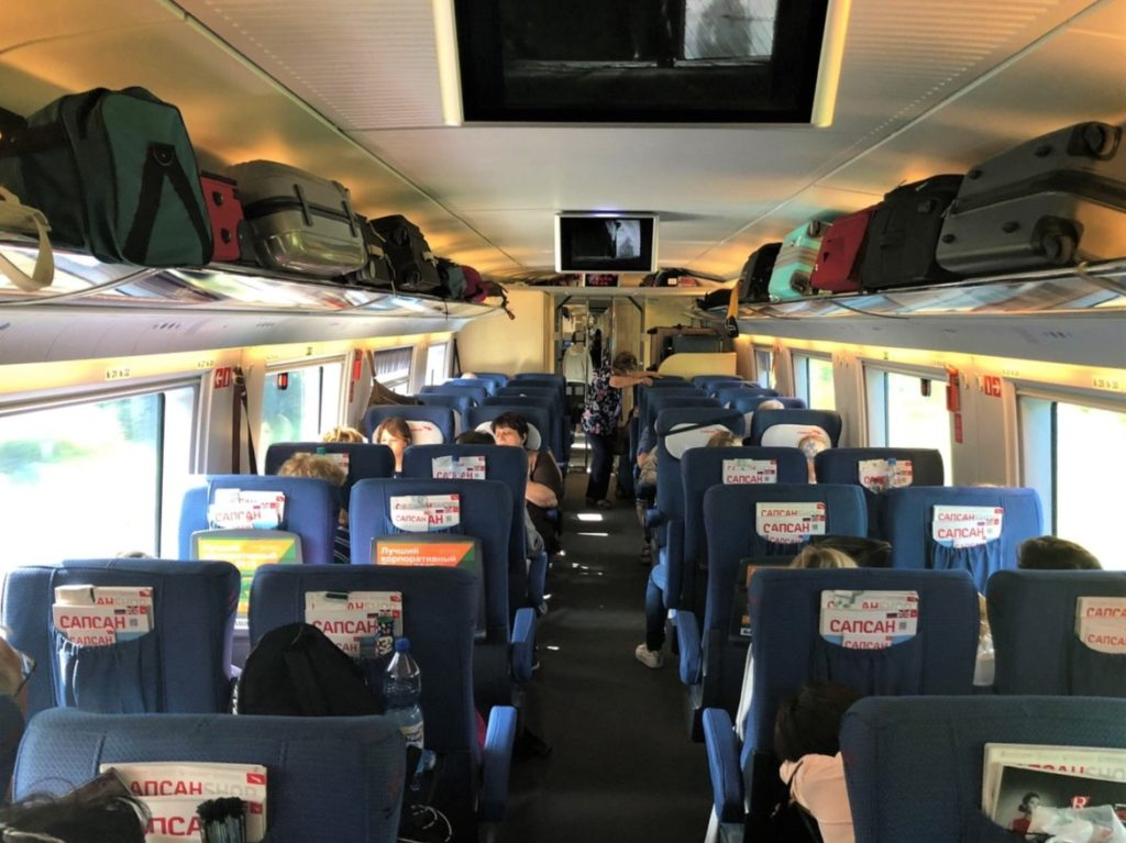 Interior Sapsan train in economy class