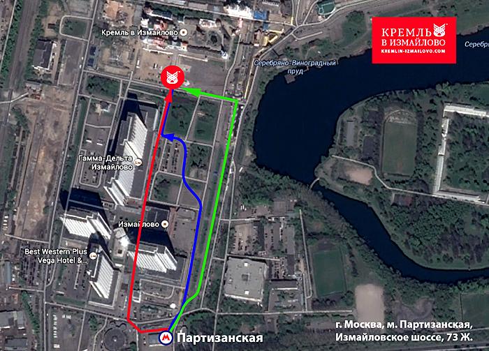 Mappa per arrivare a Izmajlovo