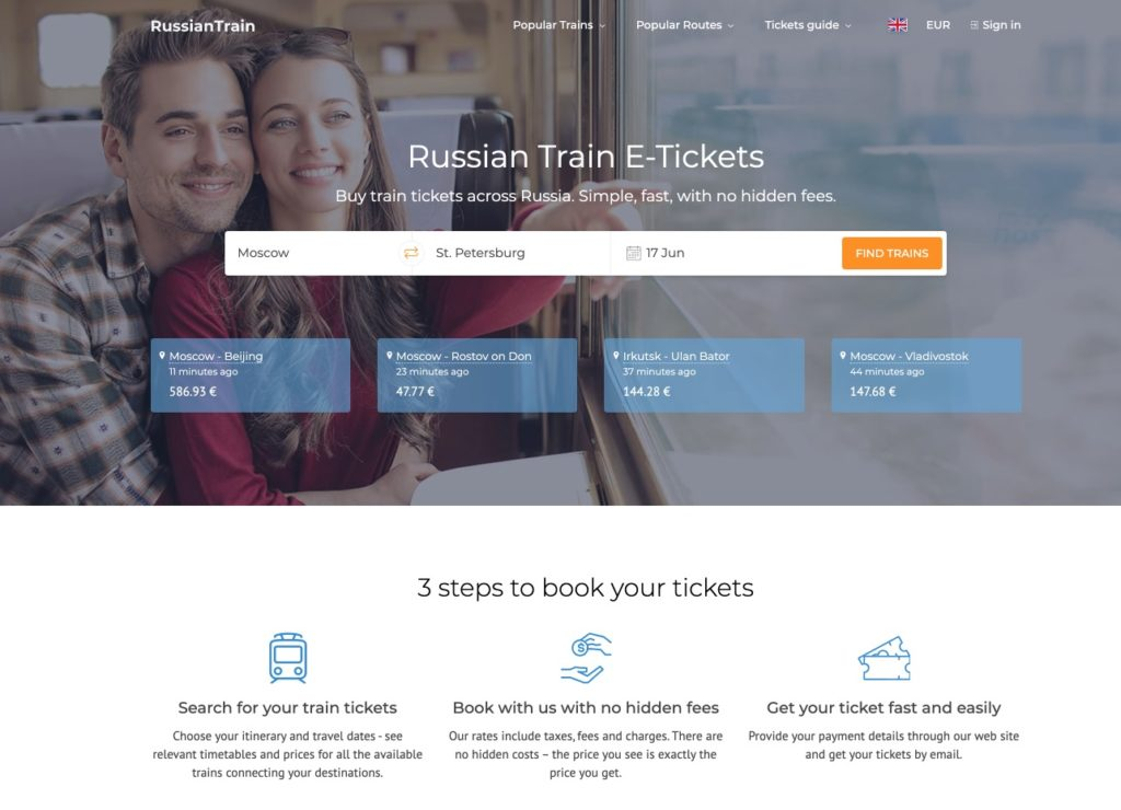 Russiantrain ticket sales website