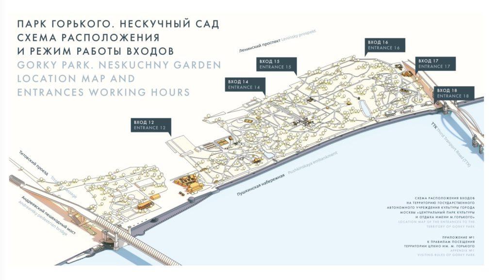 Neskuchny park map - Gorky Park
