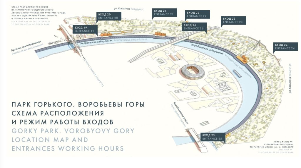 Vorobyovy Gory park map - Gorky Park
