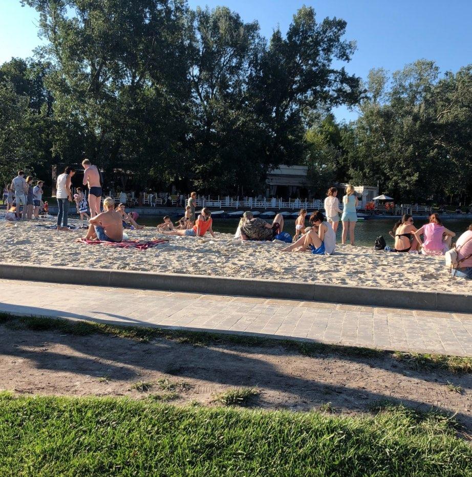 Artificial beach in Gorky Park
