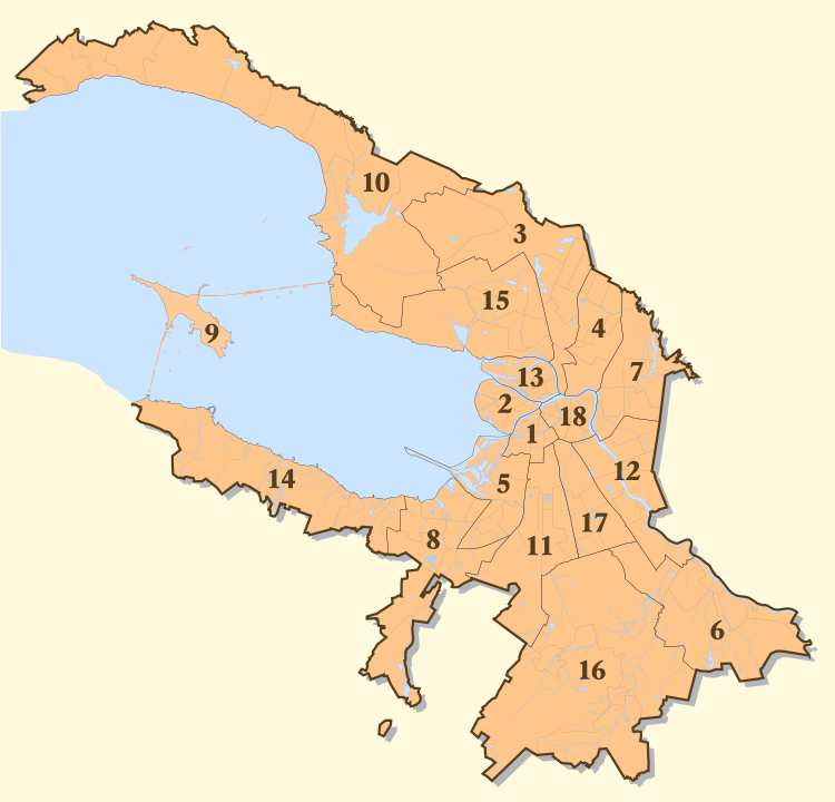 Districts et quartiers de Saint-Pétersbourg